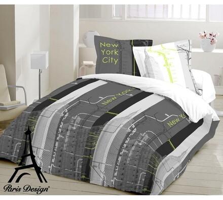 Bavlněné povlečení New York, 140 x 200 cm, 70 x 90, bílá + šedá, 140 x 200 cm, 70 x 90 cm