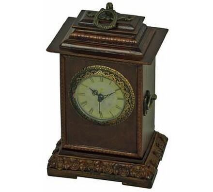 Dekorativní stolní hodiny, hnědá, 26 x 16 x 13 cm