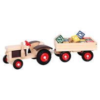Bino Traktor z gumowymi kołami i przyczepą