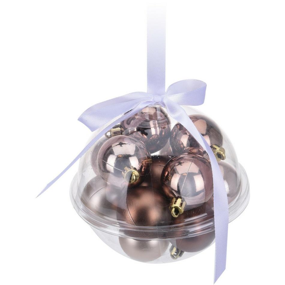 Sada vánočních ozdob Xmas Ball měděná, 14 ks