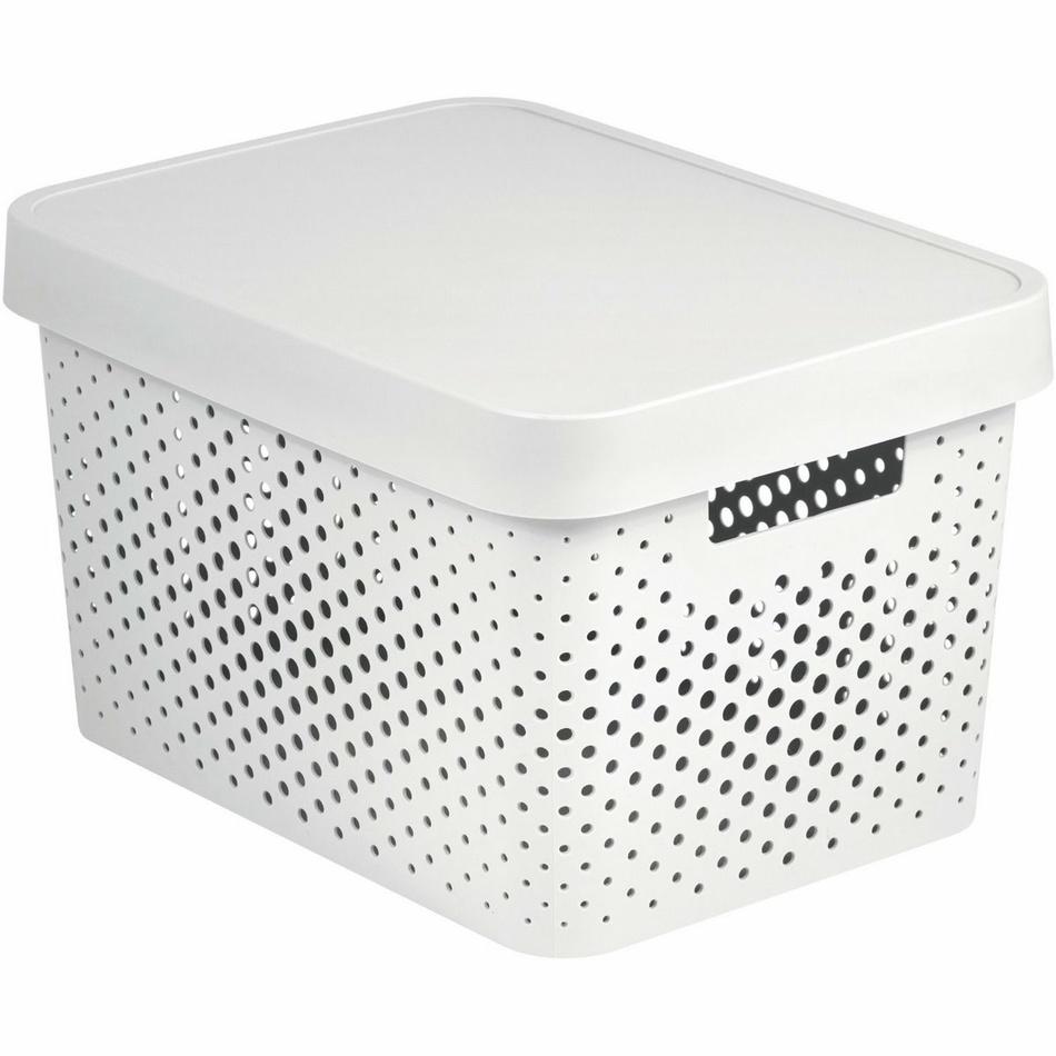 Úložný box INFINITY 11l s víkem bílý - puntíky 04753-N23