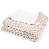 4Home So Soft Luxus XXL gyapjúpléd szőrmévelbézs, 220 x 240 cm
