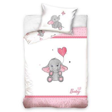 Elefánt gyermek pamut ágynemű kiságyba rózsaszín, 100 x 135 cm, 40 x 60 cm