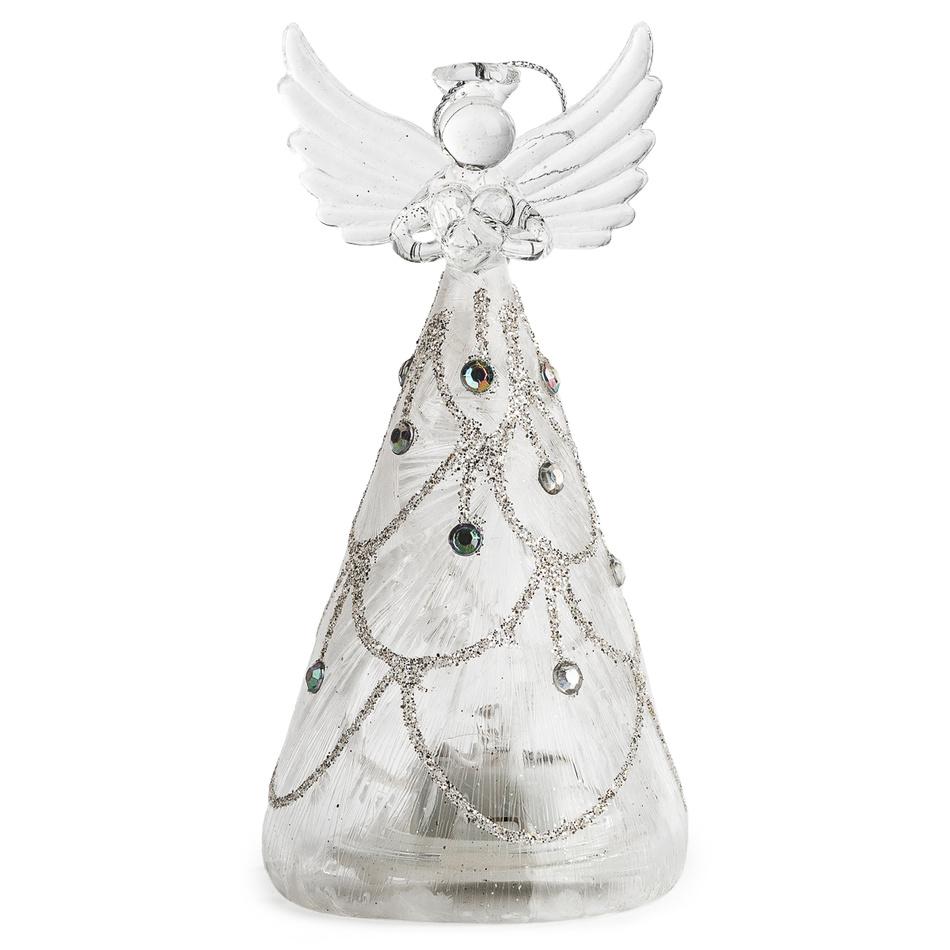 Vánoční dekorace svíticí anděl, teplá LED, 13 x 6,5 cm