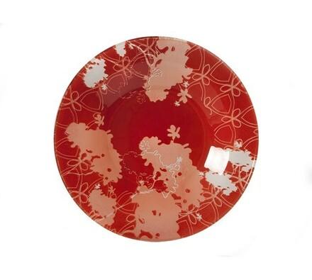 Dezertní talíř Valentyne, 6 ks, bílá + červená, červená