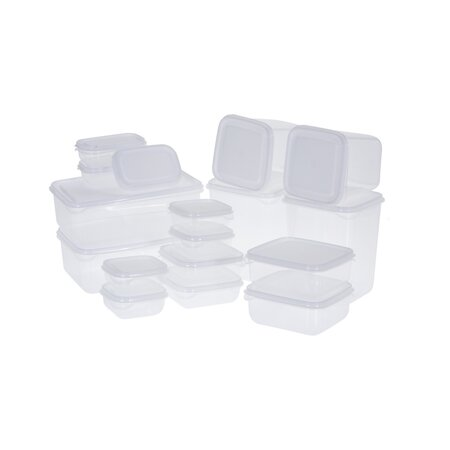 Zestaw pojemników plastikowych z pokrywami 17 szt., biały