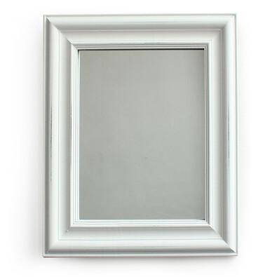 Zrcadlo v dřevěném rámu Caruso, bílá