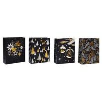 Karácsonyi ajándéktáska szett, 4 db-os, fekete, 26 x 32 x 10 cm