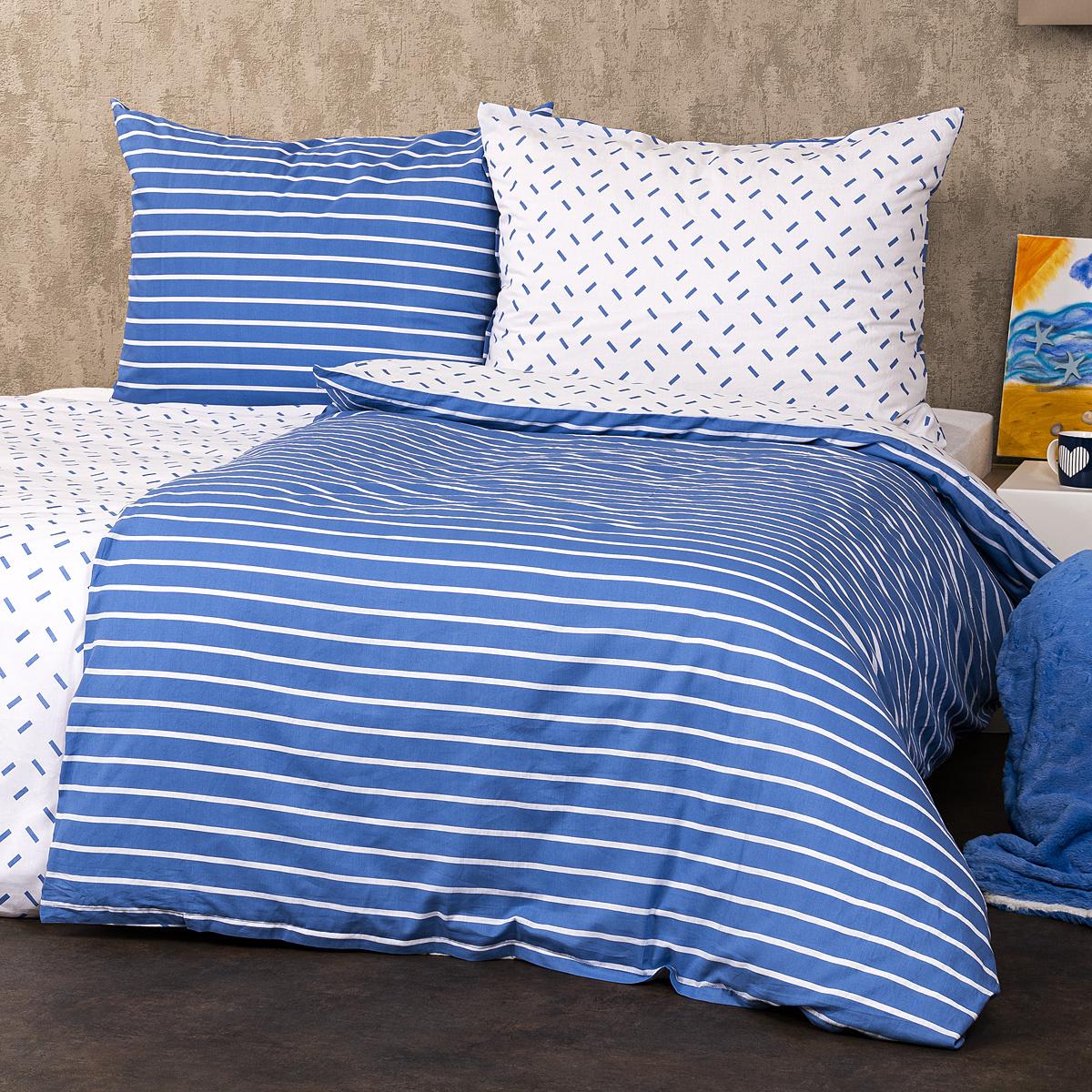 4Home Bavlněné povlečení Pruhy modrá, 140 x 220 cm, 70 x 90 cm