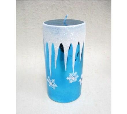 Vánoční svíčka modrá, 7,5 x 14,5 cm