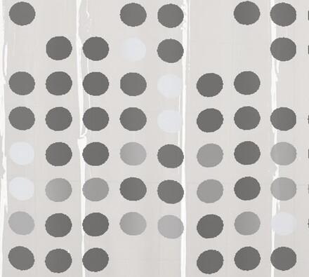 Vinylový sprchový závěs Puntíky, šedá