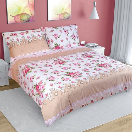Rózsa pamut ágynemű, rózsaszín, 220 x 200 cm, 2 db 70 x 90 cm