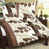 Lenjerie de pat, din flanelă, Bellatex Frunze, 140 x 200 cm, 70 x 90 cm