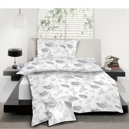 Levelek pamut ágynemű, szürke, 140 x 200 cm, 70 x 90 cm, 40 x 40 cm