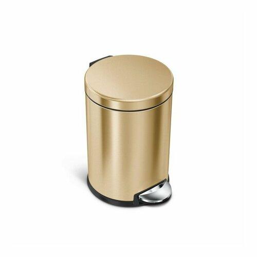 Simplehuman kulatý pedálový koš 4,5 l, brass (mosaz)