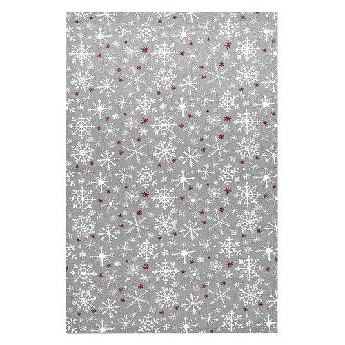 Hópehely karácsonyi konyhai törlőruha, szürke, 45 x 70 cm, 3 db-os szett