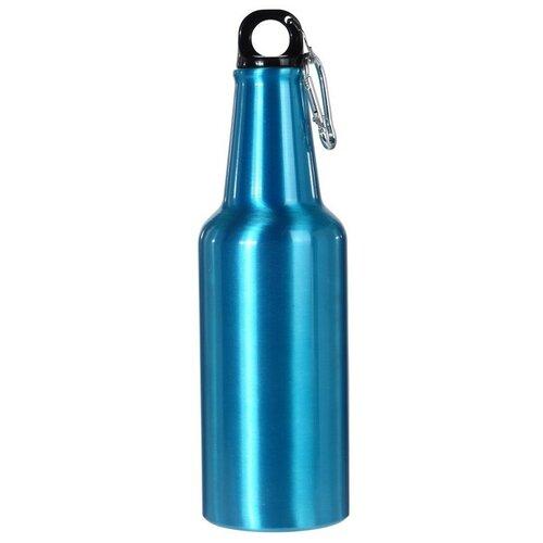 Športová hliníková fľaša s uzáverom 600 ml, modrá