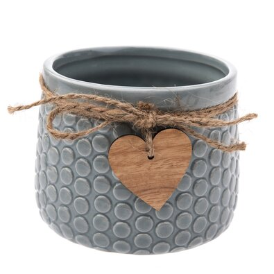 Ceramiczna osłonka na doniczkę Heart, szary, 11 x 8,8 x 8 cm