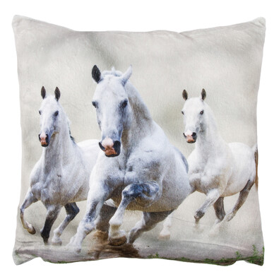 Faţă pentru pernuţă Caii albi micropluş, 40 x 40 cm