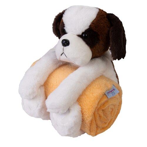 Carol gyermek takaró plüssjátékkal, kutyusos, 85 x 100 cm