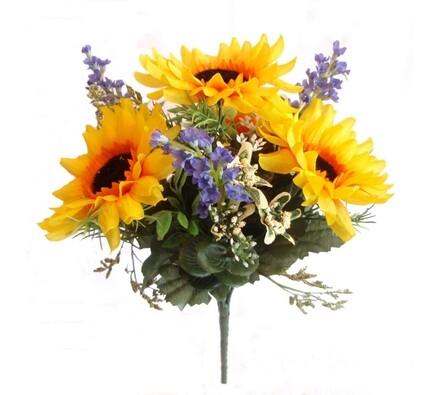 Umělá kytice slunečnice s levandulí 27 cm