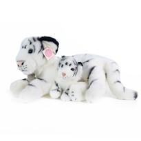 Tigru pluș alb Rappa, cu pui, 38 cm