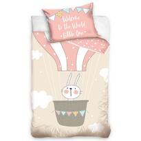 Bawełniana pościel dziecięca do łóżeczka Zajączek w balonie, 100 x 135 cm, 40 x 60 cm