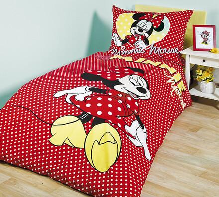Dětské bavlněné povlečení Minnie Mouse, 140 x 200 , červená, 140 x 200 cm, 70 x 90 cm