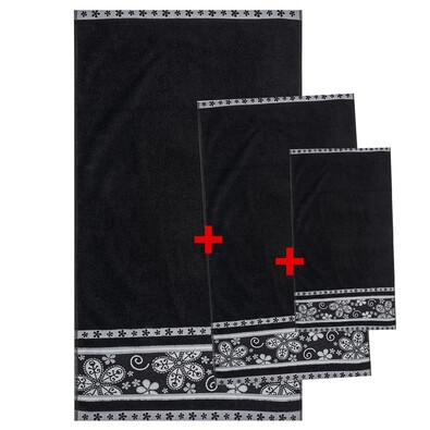 Výhodná sada ručníků a osušky Fiora černá