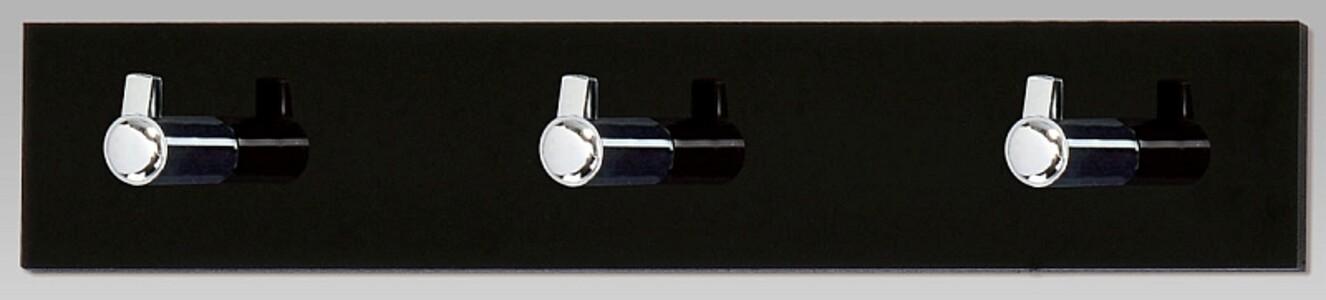 Nástěnný věšák 3 háčky, černý akrylát, GC3503-3 BK