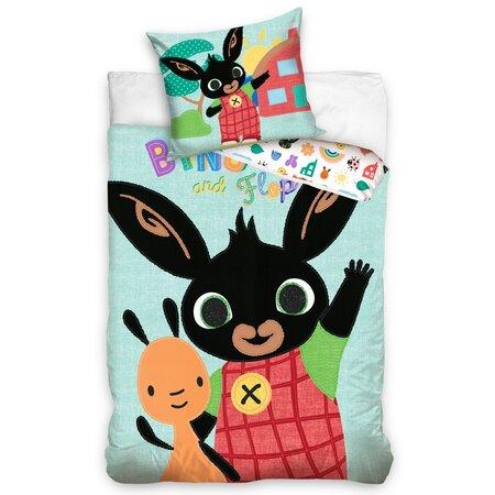 Lenjerie de pat din bumbac pentru copii Iepurașul Bing și Flop, 140 x 200 cm, 70 x 90 cm