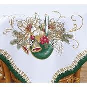 Vánoční ubrus Svíce se zvonky, zelená, 85 x 85 cm