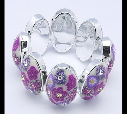 Dámský náramek bílý s fialovými květy