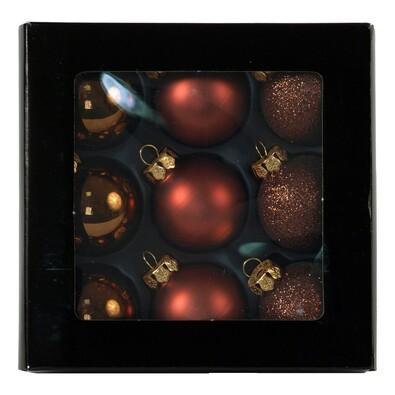 Skleněné vánoční koule, měděné, 9 ks, měděná