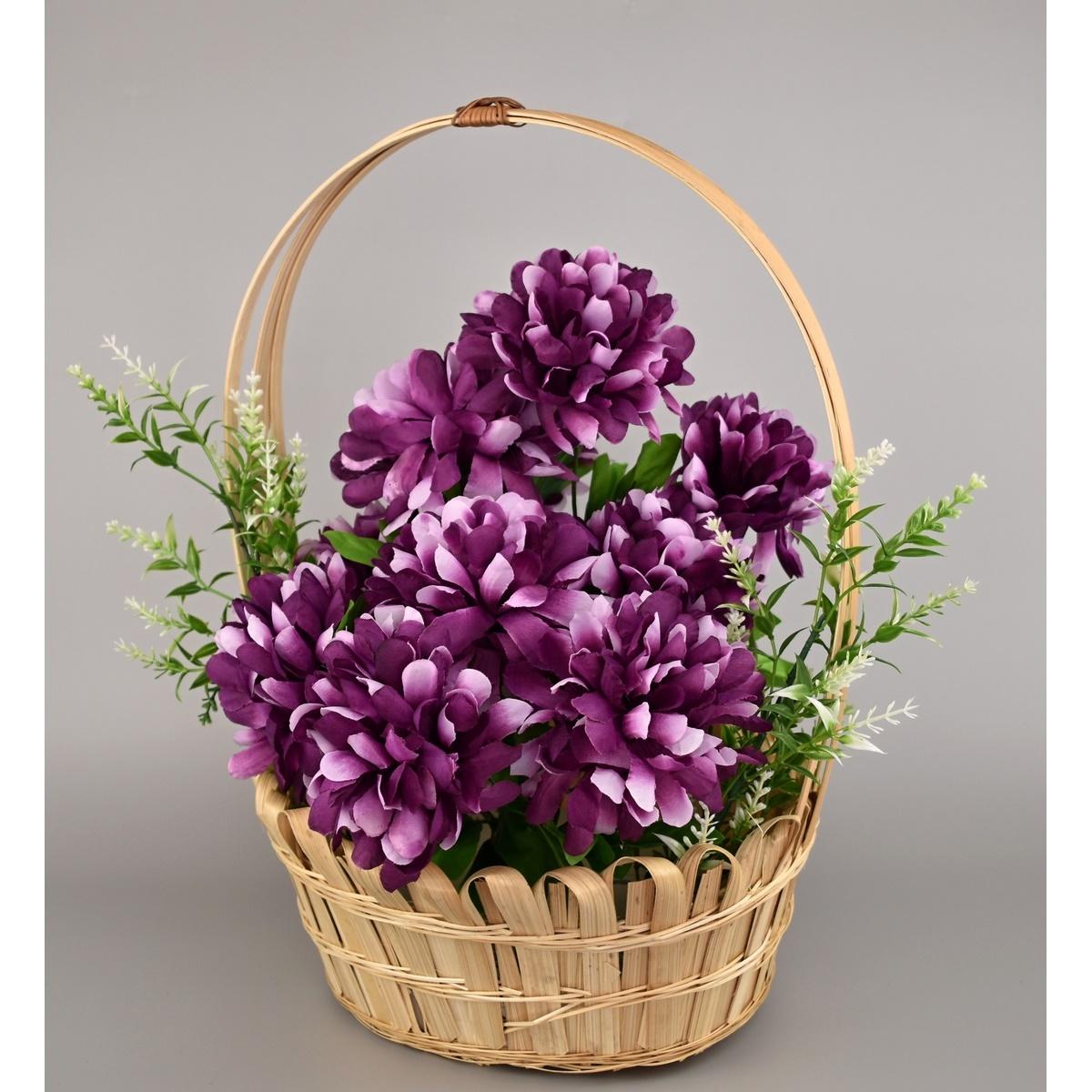 Dušičkový košík zdobený 20 x 30 cm, fialová