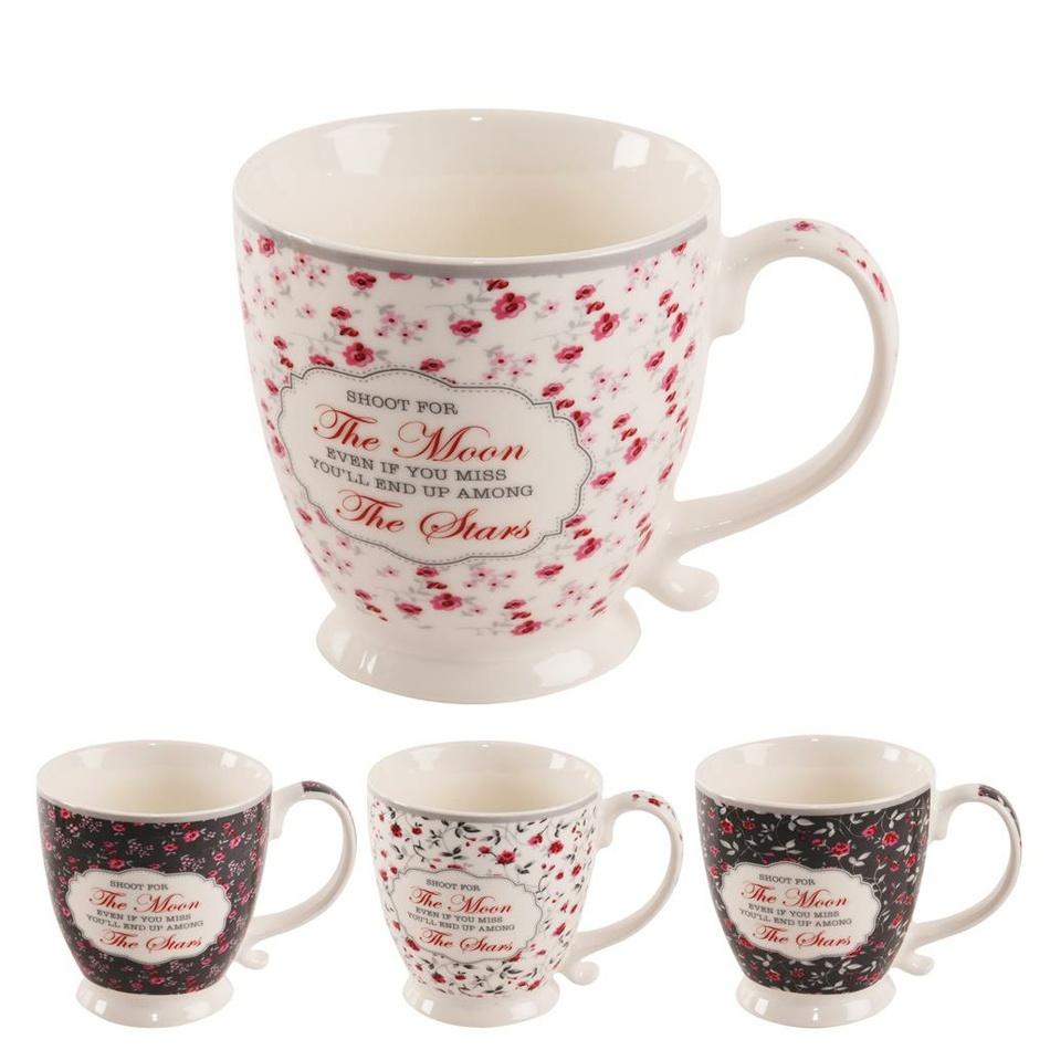 Orion Sada porcelánových hrnků Romantic 450 ml, 4 ks