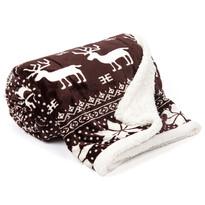 Pătură din imitație de lână Ren maro, 150 x 200 cm
