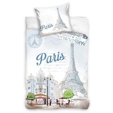Bavlněné povlečení Paříž Eiffelovka, 140 x 200 cm, 70 x 90 cm