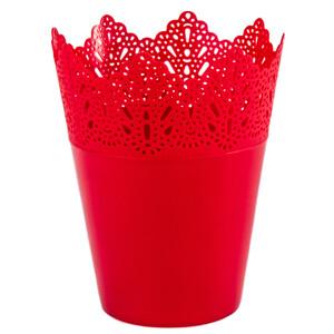 Plastový obal na květináč Krajka 15 cm, červená