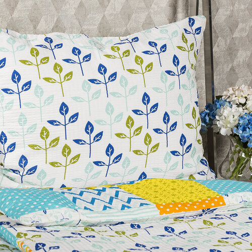 4Home Krepové obliečky Patchwork blue, 140 x 220 cm, 70 x 90 cm