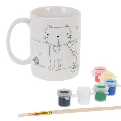 Keramický hrnek k domalování Kočka, kreativní sada