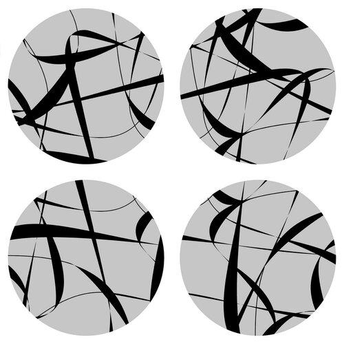 Podložka pod hrnek Print grey kulatá, pr. 10 cm, sada 4 ks