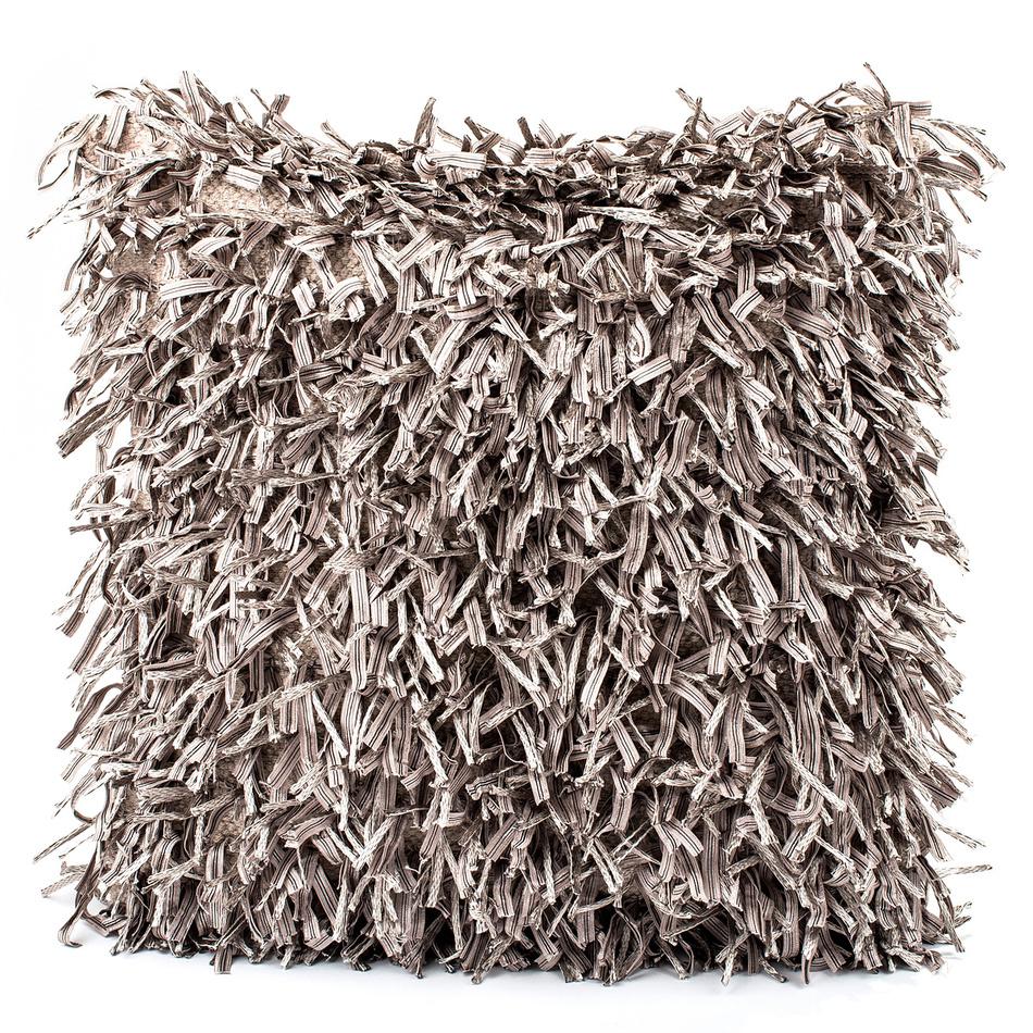 BO-MA Trading Obliečka na vankúšik Shaggy strieborná, 45 x 45 cm