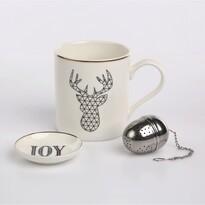 Altom porcelánbögre szűrővel, ajándékdobozban,Nordic Winter black, 380 ml