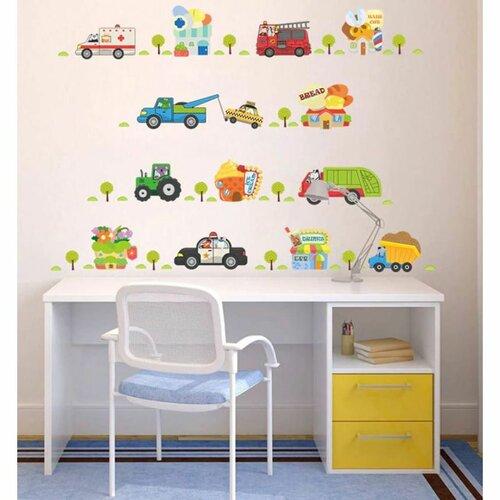 Samolepiaca dekorácia Stavebné stroje, 105 x 95 cm