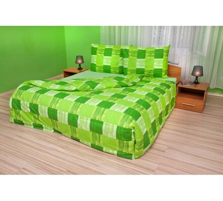 Bavlněné povlečení Čtverce zelené, 140 x 220 cm, 70 x 90 cm