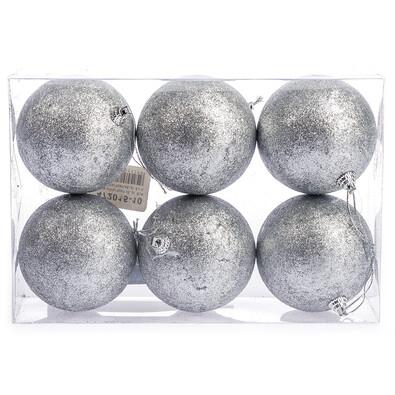 Vánoční koule 6 ks, stříbrná