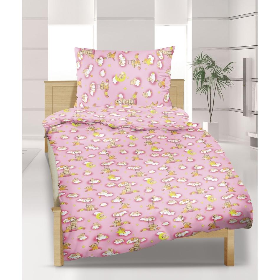 Bellatex Detské bavlnené obliečky do postieľky Macko ružová, 90 x 135 cm, 45 x 60 cm