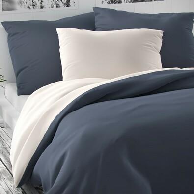 Saténové povlečení Luxury Collection bílá/tm. šedá, 140 x 220 cm, 70 x 90 cm