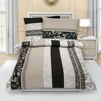 Levelek krepp ágynemű, barnás-drappos, 140 x 200 cm, 70 x 90 cm